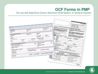 OCF Forms in PMP