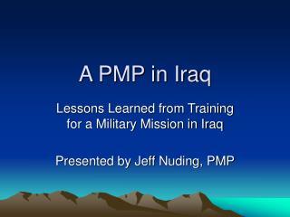A PMP in Iraq