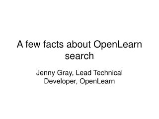 A few facts about OpenLearn search