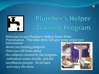 Plumber's Helper  Training Program