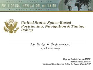United States Space-Based  Positioning, Navigation & Timing Policy