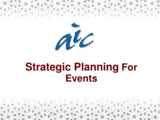 Strategic Planning For Events