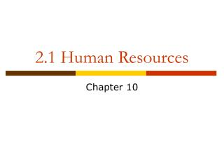 2.1 Human Resources