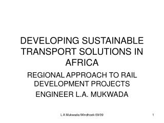 DEVELOPING SUSTAINABLE TRANSPORT SOLUTIONS IN AFRICA