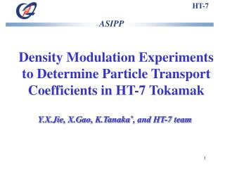 Density Modulation Experiments to Determine Particle Transport Coefficients in HT-7 Tokamak