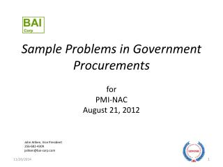 Sample Problems in Government Procurements