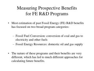 Measuring Prospective Benefits for FE R&D Programs