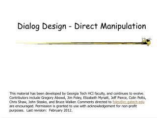 Dialog Design - Direct Manipulation