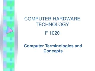 Computer Terminologies and Concepts