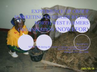 EXPPERIENCE OF GROUP MARKETING OF GINGER BY THE NORTH WEST FARMERS ORGANISATION  (NOWEFOR )