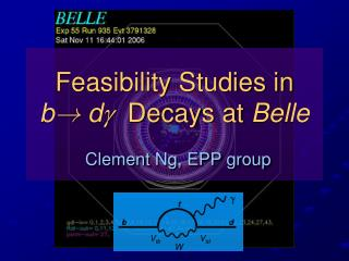 Feasibility Studies in  b !  d  Decays at  Belle Clement Ng, EPP group