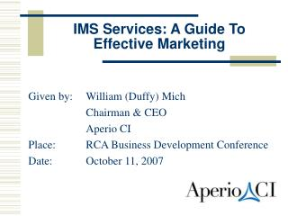 IMS Services: A Guide To Effective Marketing