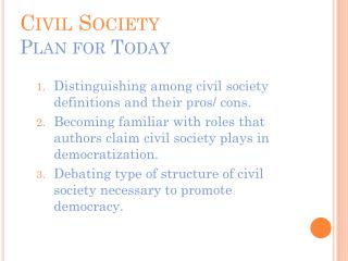 Civil Society Plan for Today