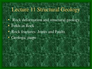 Lecture 11 Structural Geology