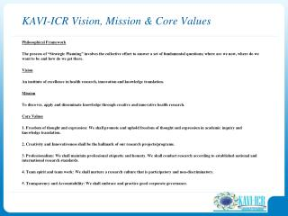 KAVI-ICR Vision, Mission & Core Values