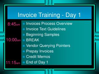 Invoice Training - Day 1