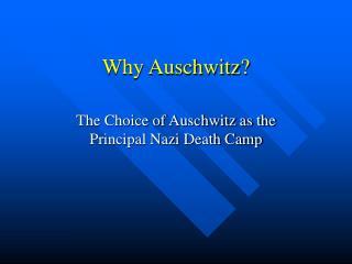 Why Auschwitz?