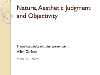 Nature, Aesthetic Judgment and Objectivity