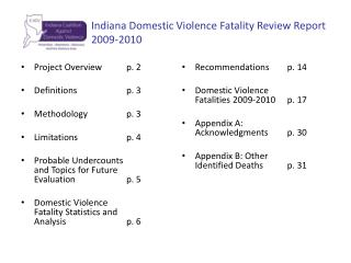 Indiana Domestic Violence Fatality Review Report  		2009-2010