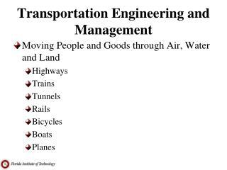 Transportation Engineering and Management