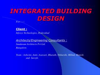 INTEGRATED BUILDING DESIGN