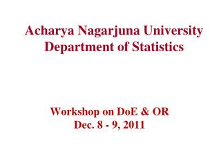 Acharya Nagarjuna University Department of Statistics