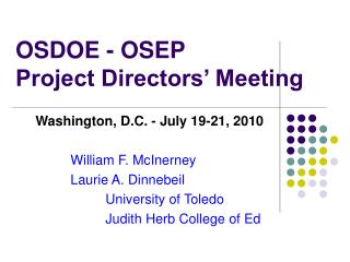 OSDOE - OSEP Project Directors' Meeting