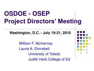 OSDOE - OSEP Project Directors� Meeting