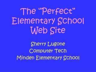 "The ""Perfect"" Elementary School Web Site"