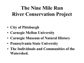 The Nine Mile Run River Conservation Project