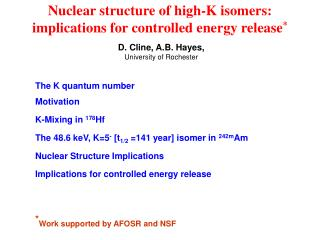 Nuclear structure of high-K isomers:  implications for controlled energy release