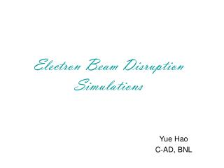 Electron Beam Disruption Simulations