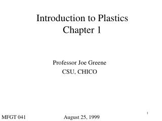 Introduction to Plastics Chapter 1