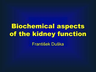 Biochemical aspects of the kidney function