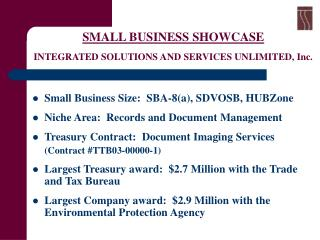 SMALL BUSINESS SHOWCASE  INTEGRATED SOLUTIONS AND SERVICES UNLIMITED, Inc.