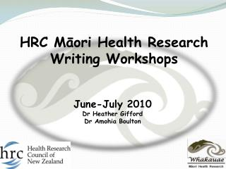 HRC M?ori Health Research Writing Workshops