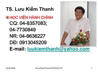 TS. Lưu Kiếm Thanh