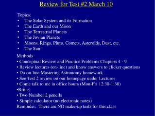 Review for Test #2 March 10