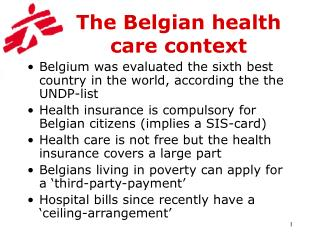 The Belgian health care context