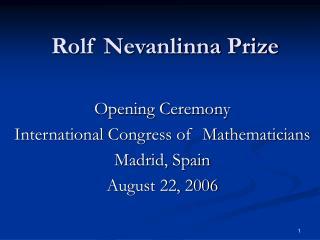 Rolf Nevanlinna Prize