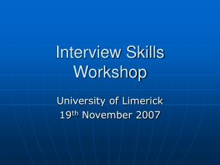 Interview Skills Workshop