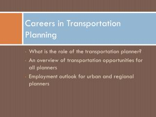Careers in Transportation Planning