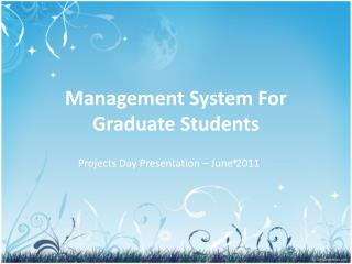 Management System For Graduate Students