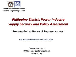 Philippine Electric Power Industry  Supply Security and Policy Assessment