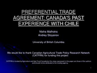 PREFERENTIAL TRADE AGREEMENT: CANADA'S PAST EXPERIENCE WITH CHILE