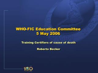 WHO-FIC Education Committee 5 May 2006