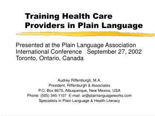 Training Health Care Providers in Plain Language