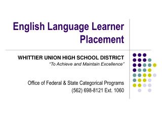 English Language Learner Placement