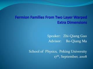 Fermion  Families From Two Layer Warped Extra Dimensions