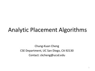 Analytic Placement Algorithms